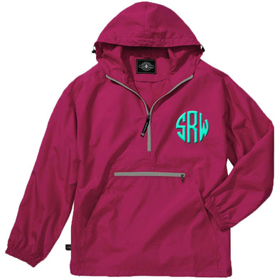 Unlined Pullover Rain Jacket--Hot Pink