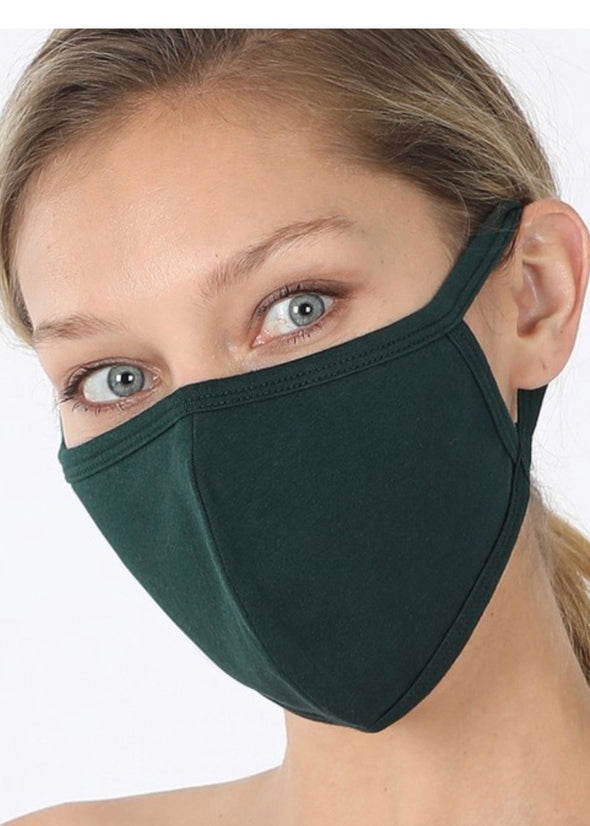Washable Filter Pocket Mask - Hunter Green
