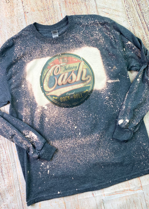 Johnny Cash Bleached Long Sleeve Tee