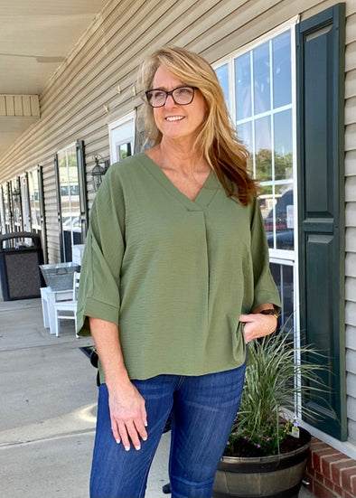 Carolina Dolman Sleeve Top - Olive