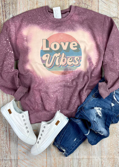 Love Vibes Bleached Graphic Sweatshirt