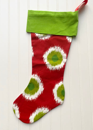 Monogrammed Christmas Stocking--Starburst/Green Cuff - Monograms By Kim Boutique & Gifts