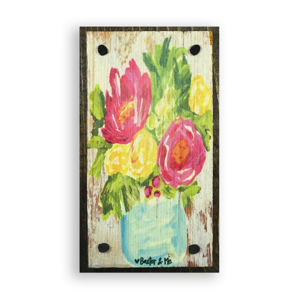 Flowers In A Vase Happy Block - Monograms By Kim Boutique & Gifts