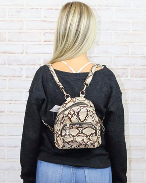 Snake print backpack - Brown - Monograms By Kim Boutique & Gifts