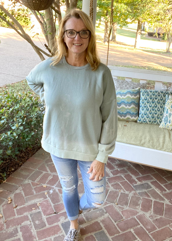 Comfy Dipped Pullover w/Pockets-Seafoam