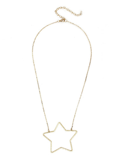 "Gold 16""-18"" Necklace w Gold Star"