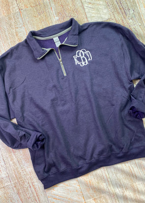 Monogrammed Quarter Zip Pullover - Blackberry