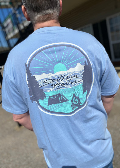 Southern Marsh Summer Camp Sunsets Tee - Light Blue