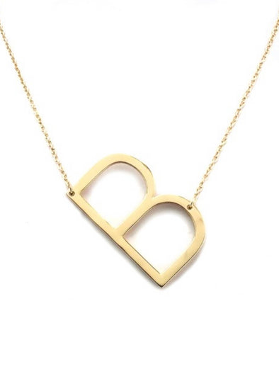 Polished Gold-tone Initial Necklace