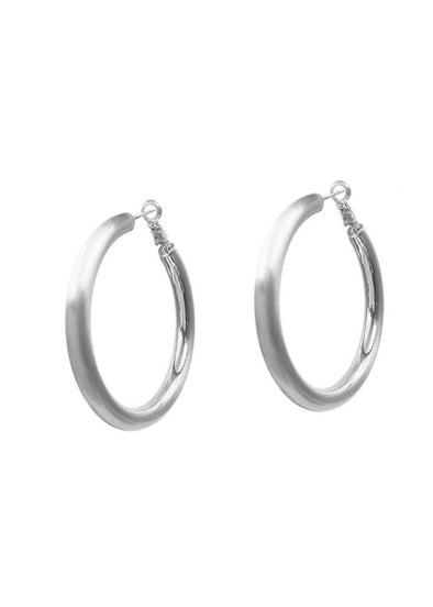 "Satin Silver 2"" Hoop Earrings"