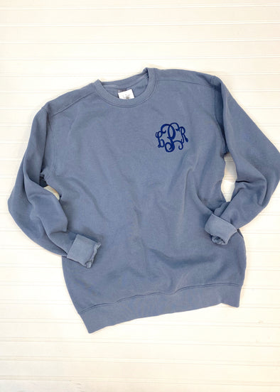 Monogrammed Comfort Colors Sweatshirt-Blue Jean - Monograms By Kim Boutique & Gifts