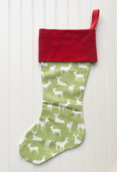 Monogrammed Christmas Stocking--Green Reindeer with Red Cuff - Monograms By Kim Boutique & Gifts