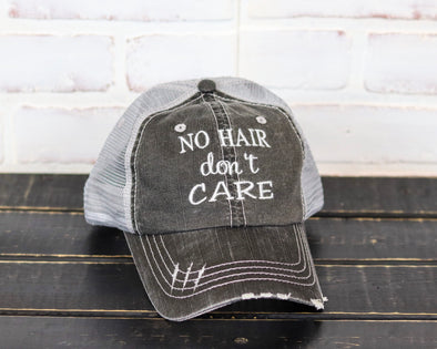 No Hair Don't Care Trucker Ball Cap - Monograms By Kim Boutique & Gifts