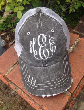 Monogrammed Grey Distressed Trucker Ball Cap - Monograms By Kim Boutique & Gifts