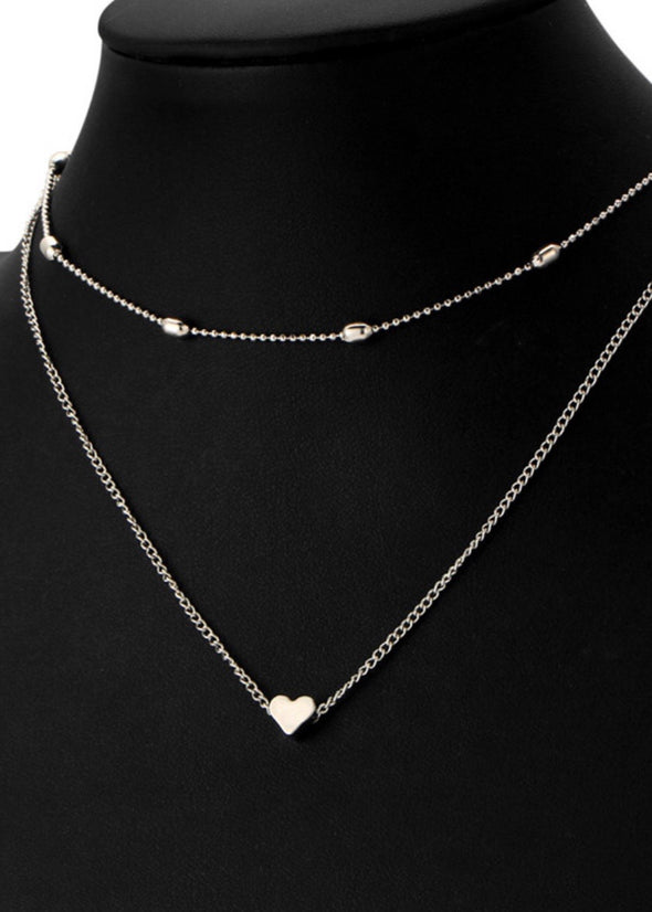 Heart Double Layer Necklace - Silver - Monograms By Kim Boutique & Gifts