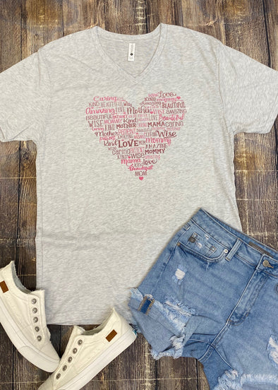 Mom Heart Graphic Tee - Monograms By Kim Boutique & Gifts