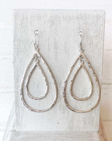 Double Teardrop Earrings - Silver - Monograms By Kim Boutique & Gifts