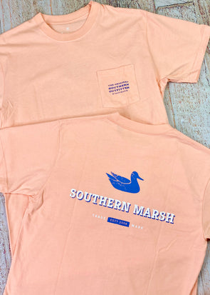 Southern Marsh Trademark Duck Tee - Peach