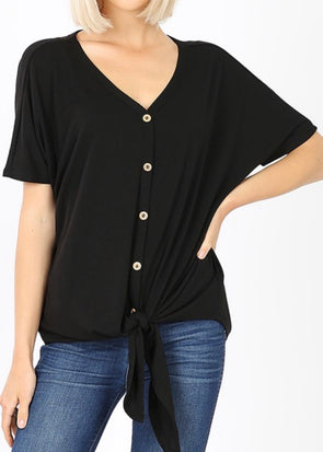 Avery Front Tie Top - Black - Monograms By Kim Boutique & Gifts