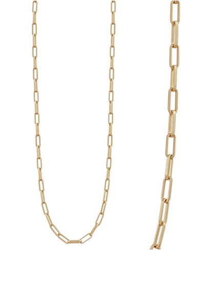 "Matte Gold Open Link Chain 34"" Necklace"