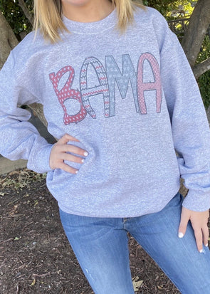 Bama Scribble Letters Graphic Sweatshirt-Grey - Monograms By Kim Boutique & Gifts