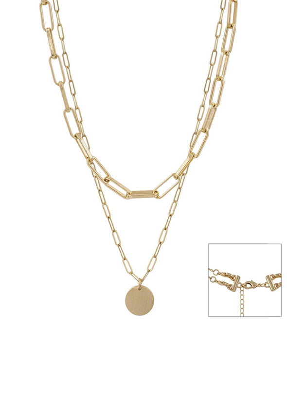 "Gold Chain Layered Coin 17""-19"" Necklace"