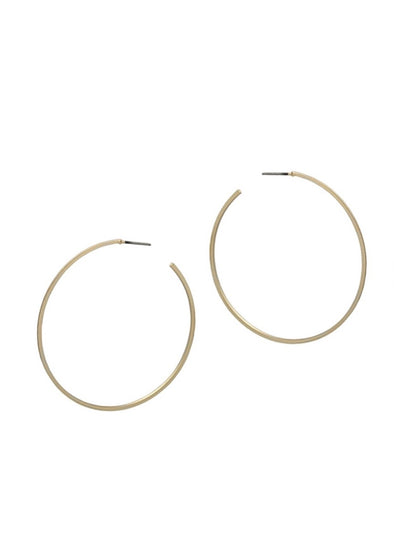 "Satin Matte Gold Thin 2"" Hoop Earrings"