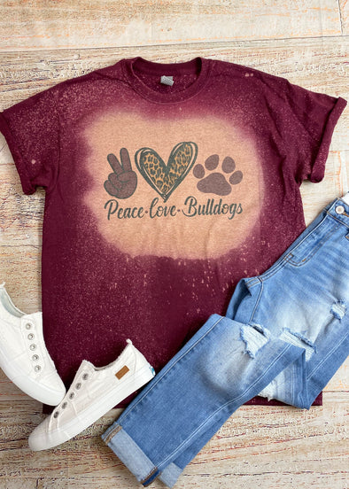 Peace Love Bulldogs Bleached Graphic Tee