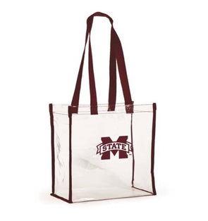 Gameday Open Top Clear Tote - Mississippi State - Monograms By Kim Boutique & Gifts