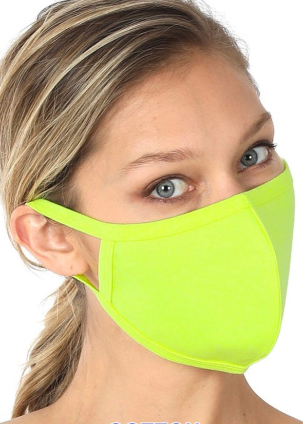 Washable Adult Face Mask - Neon Lime