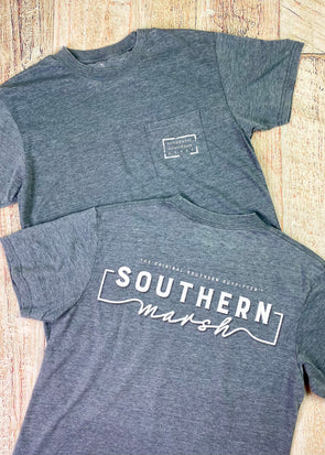 Southern Marsh Seawash Tee - Waves - Midnight Grey