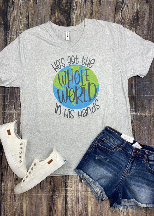 He's Got The Whole World In His Hands Graphic Tee - Monograms By Kim Boutique & Gifts