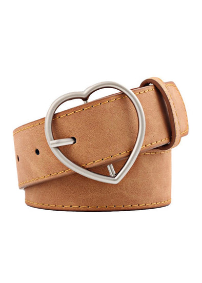 Heart Buckle Belt - Camel - Monograms By Kim Boutique & Gifts
