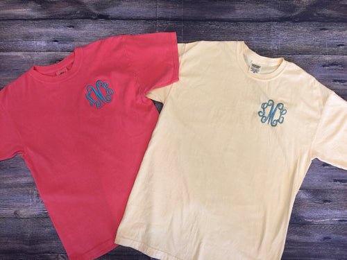 Comfort Colors Short Sleeve T-Shirt-Left Chest Thread Monogram