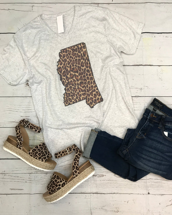 Leopard State of MS Graphic Tee - Monograms By Kim Boutique & Gifts