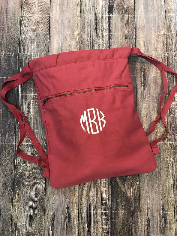 Monogrammed Comfort Colors Canvas Cinch Sak/Backpack - Monograms By Kim Boutique & Gifts