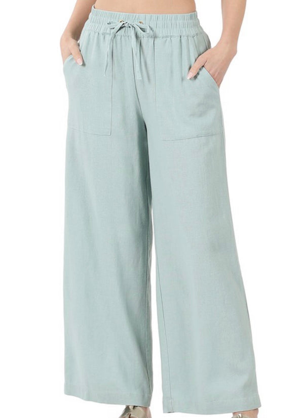 Linen Drawstring Pants - Light Green