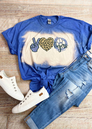 Peace Love Tigers Bleached Graphic Tee