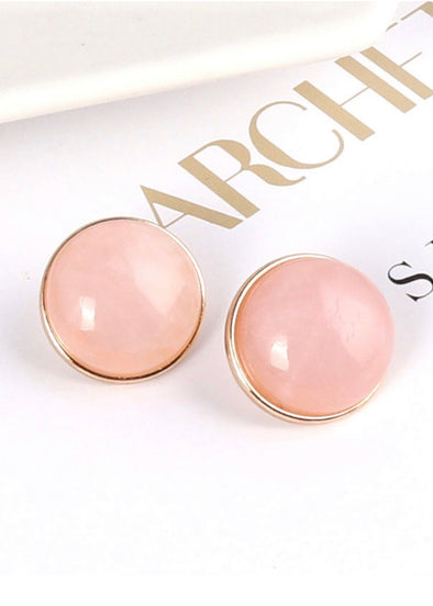 Pearl Gemstone Stud Earrings - Pink - Monograms By Kim Boutique & Gifts