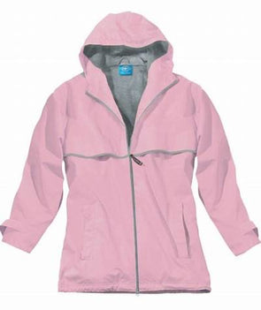 Monogrammed New Englander Rain Jacket--Light Pink