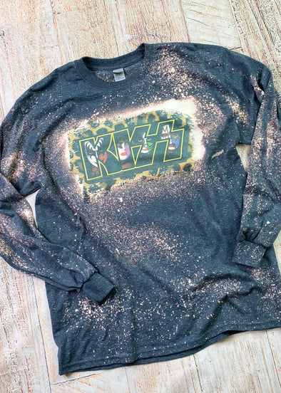KISS Bleached Long Sleeve Tee