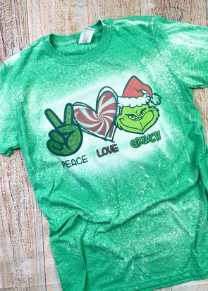 Peace Love Grinch  Bleached Graphic Tee