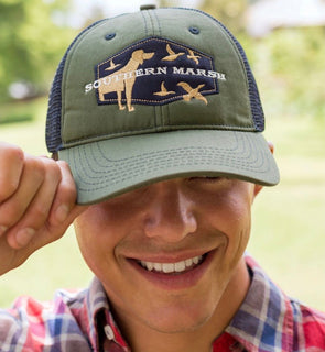 Southern Marsh Trucker Hat - Hunting Dog - Dark Olive