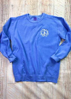 Monogrammed Comfort Colors Sweatshirt - Flo Blue