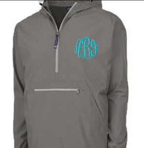 Unlined Pullover Rain Jacket--Grey - Monograms By Kim Boutique & Gifts