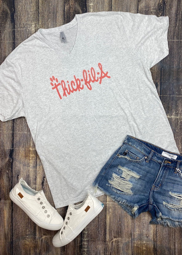 Thick Fil A V Neck Graphic Tee - Monograms By Kim Boutique & Gifts