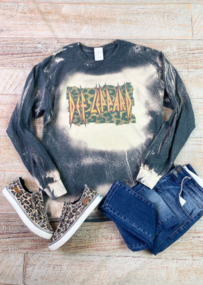Def Leppard Inspired Bleached Long Sleeve Tee
