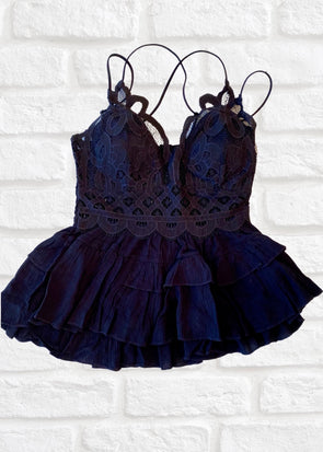 Crochet Lace Peplum Cami - Black
