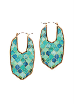 "Teal/Mint Painted Wood 2"" Earrings"