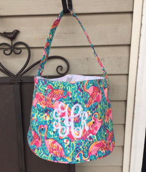 Monogrammed Lilly Pulitzer Print Easter Basket--Flamingo - Monograms By Kim Boutique & Gifts
